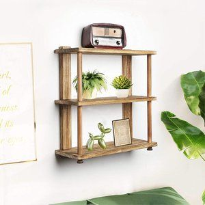 New 3 Tier Rustic Wood Floating Shelves